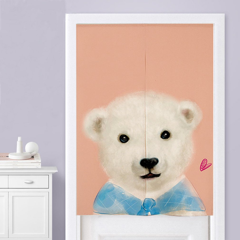 Kawaii Cute Cartoon Animal Printed Children Bedroom Living Room Cotton Curtain Half Open Curtain Door Curtains