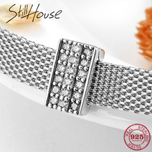 925 Sterling Silver Rectangle shape Clear CZ Clip bead Fit Original Reflections Charms Bracelets Jewelry Making