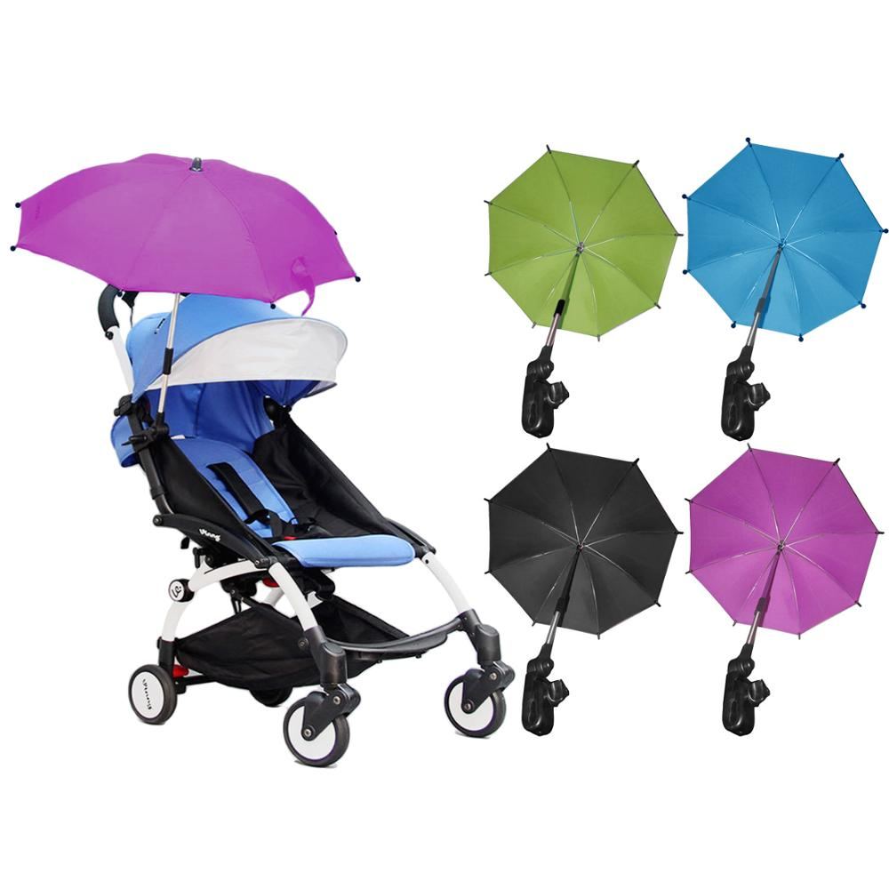 Baby Stroller Umbrella Adjustable Pram Pushchair Sun Shade UV Rain Protection Umbrella Sunshade Parasol & Holder Clip Accessory