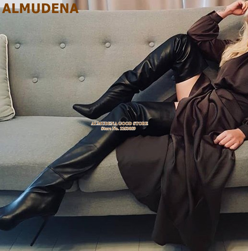 ALMUDENA Sexy Black Matte Leather Thigh Boots Over The Knee Stiletto Heels Dress Boots Women Tall Boots Big Size43 Dropship Shoe