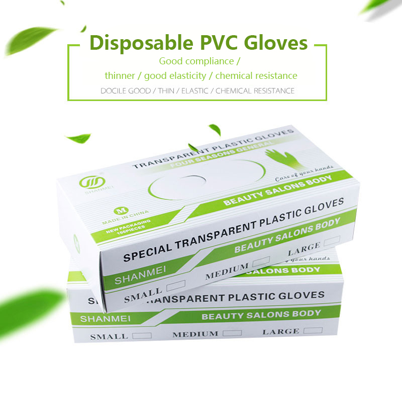 50PCS Disposable Gloves Food-grade PVC Anti-static Gloves For Food Cleaning Cooking Beauty Salons Hospital