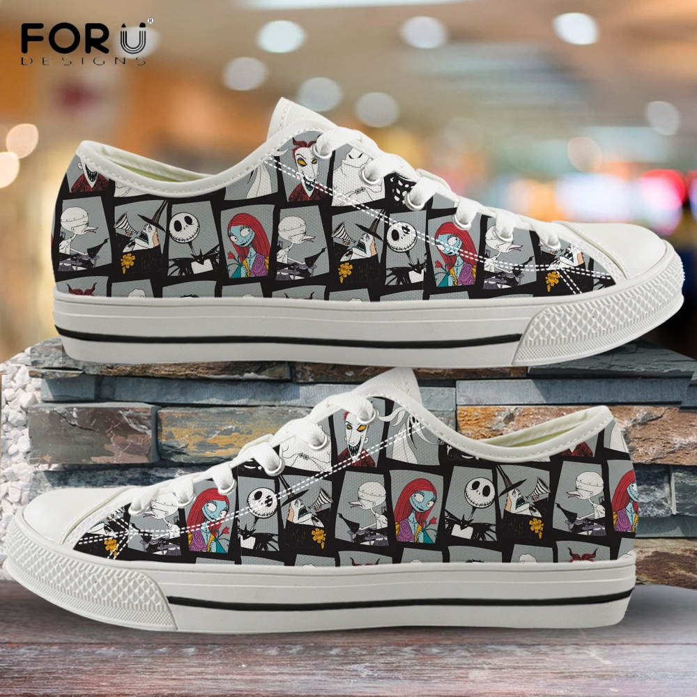 FORUDESIGNS The Nightmare Before Christmas Pattern Woman Low Top Canvas Shoes Spring/Autumn Sneakers Women Light Ladies Shoes