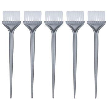 5 Pack Hair Dye Coloring Brushes Hair Coloring Dyeing Kit Handle Salon Hair Bleach Tinting DIY Tool, Silver Grey