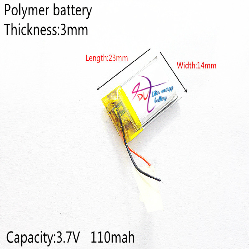 Liter energy battery polymer lithium battery 301423 3.7V 110MAH <font><b>301525</b></font> MP3,MP4,MP5,GPS,DVD,Bluetooth headset small speaker toy image