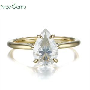 Image 3 - 14K Yellow Gold 1.5 Carat Pear Cut ring 4 prong set D Color Moissanite Engagement ring For  Wedding anniversary gift