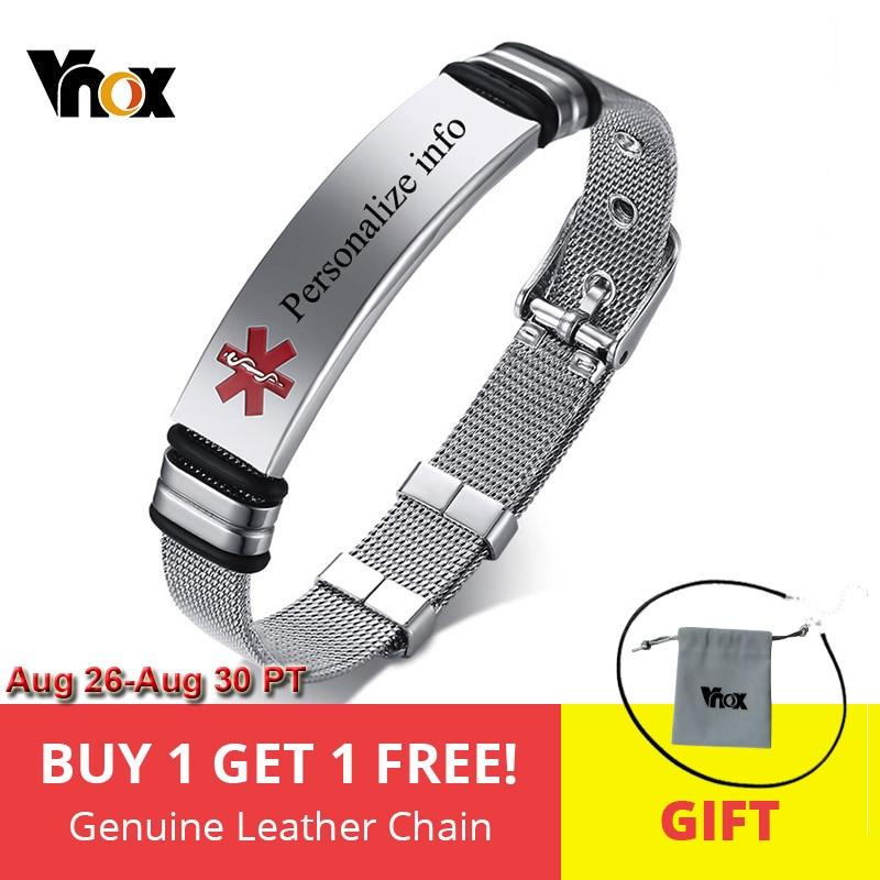 Vnox Id-Bracelet Watch-Band Adjustable Medical-Alert Personalized-Engraving Stainless-Steel