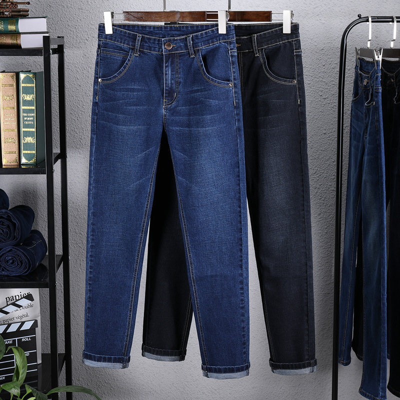 2019 Autumn And Winter Jeans Men's Straight-Cut Loose-Fit Youth Elasticity Men Casual MEN'S Trousers Trend