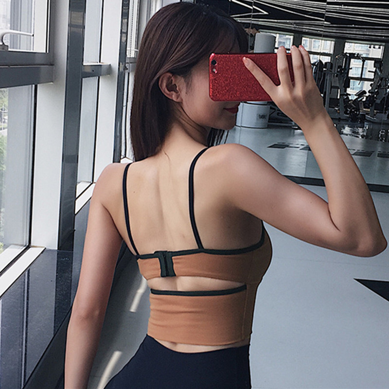 Mermaid Curve Non-removable Chest Pad Women Sports Bra Gym Sports Running Jogger Vest + Adjustable Back Buckle Women Camisole