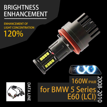 For Angel Eyes 120W H8 Super White 6000k Halo Ring LED Light for BMW 2008-2010 5 Series E60 (LCI) Super Bright image