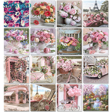 SDOYUNO 60x75cm Painting By Numbers Frameless Flower Paint By Numbers On Canvas DIY Number Painting Scenery Home Decor