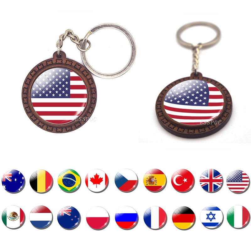 National Flag USA UK Russia Spain Brazil Wooden Keychain Glass Cabochon Jewelry Key Ring Chain Women Men Patriot Souvenir Gifts