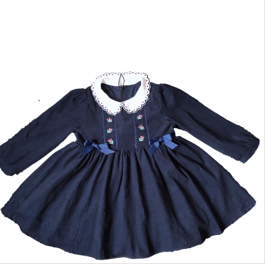 Neue baby mädchen vintage puppe ballkleid bogen kleid kinder mädchen sticken prinzessin lange ärmeln blau geburtstag