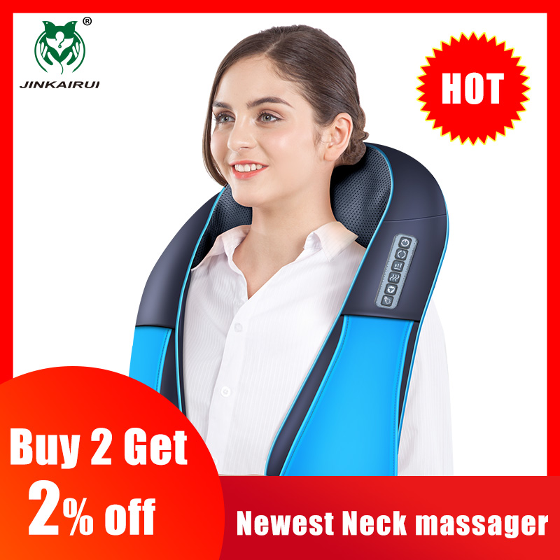 JinKaiRui Newest Neck Massager 16 Massage Rollers 3D Kneading Massage Heating Direction Adjustable 3 Strength Smart Save Energy