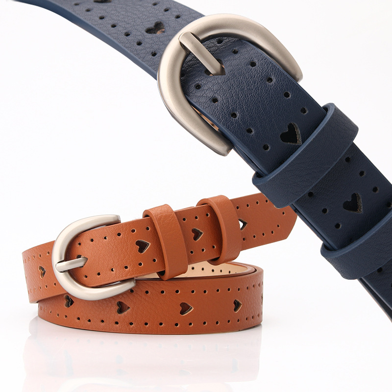 New Thin Women Belt Hollow Out Heart Leather Belts For Ladies Casual Camel Black White Red Pin Buckle Female Jeans Belt