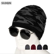 SILOQIN Trend Winter Man Keep Warm Knitting Beanie Hat Plus Velvet Fashion Camouflage Ski Cap Leisure Sports Brand Casquette