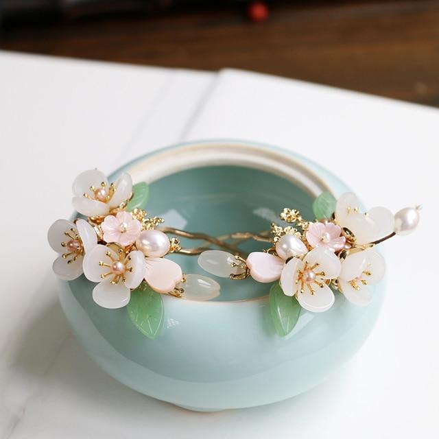 Copper Freshwater Pearl Hair Pins Gem Stone Hair Pin Flower Chinese Hairpin Wedding Hair Accessories Pince Cheveux WIGO1359