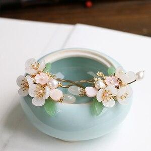 Image 1 - ทองแดงน้ำจืด Pearl Hair Pins อัญมณีหินผม PIN ดอกไม้จีน Hairpin งานแต่งงานอุปกรณ์เสริมผม Pince Cheveux WIGO1359