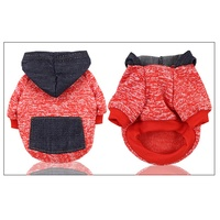 Pet Dogs Patch Work Sweater Clothes For Small Dogs Winter Warm Coat Fleece Hoodie With Denim Pocket Chihuahua Clothing