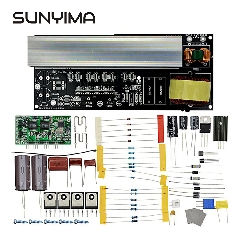 SUNYIMA 2000W Gemodificeerde Sinus Om Zuivere Sinus Omvormer Inverter Board Diy Kits Met Koellichamen DC380V/ AC16V Om AC220V