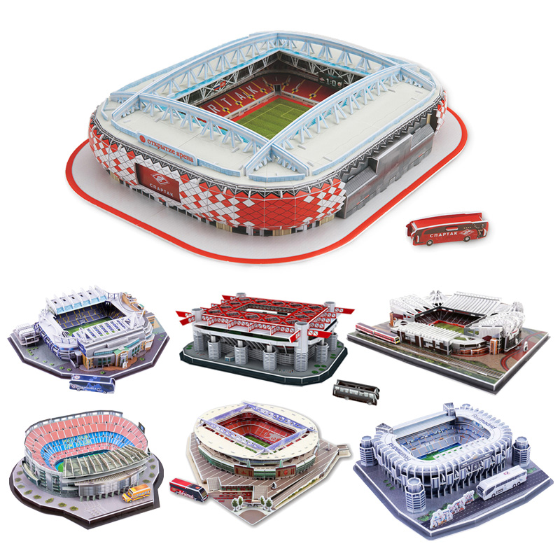 DIY 3D Puzzle Jigsaw World Football Stadium European Soccer Playground Assembled Building Model Puzzle Kids Toys For Children