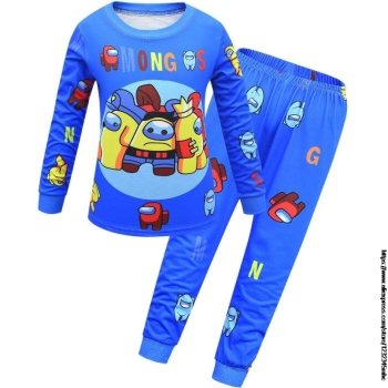 Game Among US Boy's Home Service Suit Underwear Cartoon Clothes Long-Sleeved Trousers Child Nightclothes Indoor Cotton Sleepwear 10