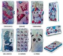 새로운 빛나는 지갑 플립 pu 가죽 케이스 아이폰 2019 6.5 6.1 5.8 유니콘 패턴 만화 수호자 전화 가방 커버 쉘 선물