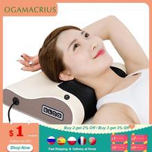 Ogamacrius amassar massagem travesseiro envoltório elétrico saudável eletrodomésticos corpo inteiro shiatsu ombro pescoço massageador