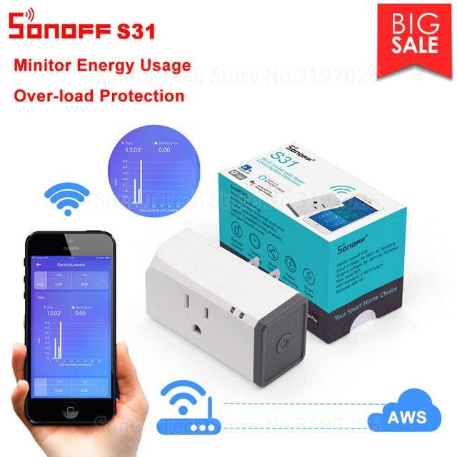 Itead Sonoff S31 US 16A inteligentne gniazdo wifi Monitor zużycie energii zdalny wylot przełącznik Wi fi współpracuje z Alexa Google Home Assistant