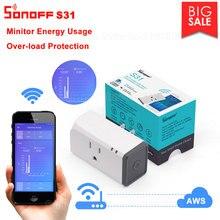 Sonoff conector de Monitor inteligente Itead S31 US 16A, WiFi, uso de energía, conmutador de Salida remota, Wi fi, funciona con asistente de Google Home Alexa