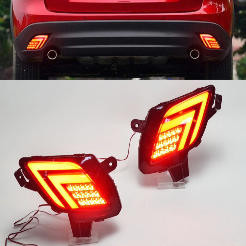 2PCS For <font><b>Mazda</b></font> <font><b>CX</b></font>-<font><b>5</b></font> CX5 2013-2016 Multi-function Car <font><b>LED</b></font> Tail Light Rear Bumper Light Rear Fog <font><b>Lamp</b></font> Brake Light image