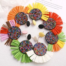 summer women earrings 2019 creative multicolor round inlaid rhinestones Lafite tassel bohemian female Jewelry