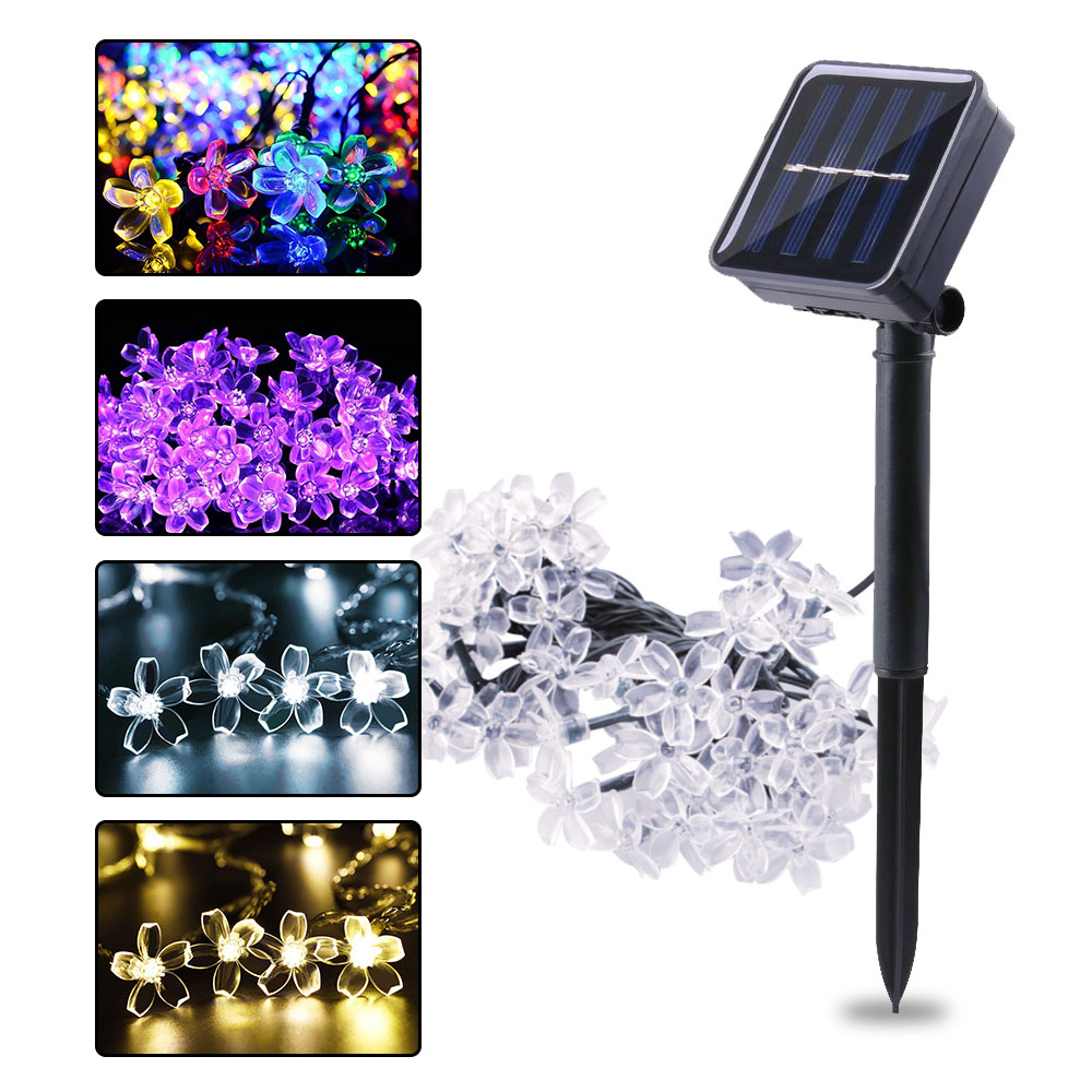 Cherry Flower Solar Christmas Fairy Lights Outdoor Led String Light For Garden Decoration Wedding Party LED Garland Street Light