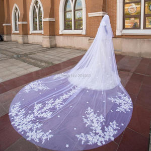 Image 2 - Impresionante velo de novia de dos capas de encaje de lujo con flores, velos de novia de 4 metros de largo con peine M2020