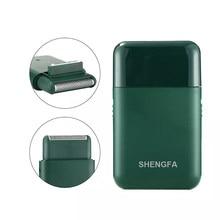 Afeitadora eléctrica recargable por USB para hombre, máquina de afeitar portátil con 2 cabezales, súper fino, Color negro y verde