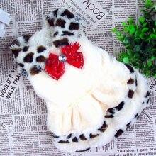 Luxo leopardo filhote de cachorro cães casaco de pele roupas para animais de estimação cão vestido de princesa casaco de inverno para cães pequenos vestuário