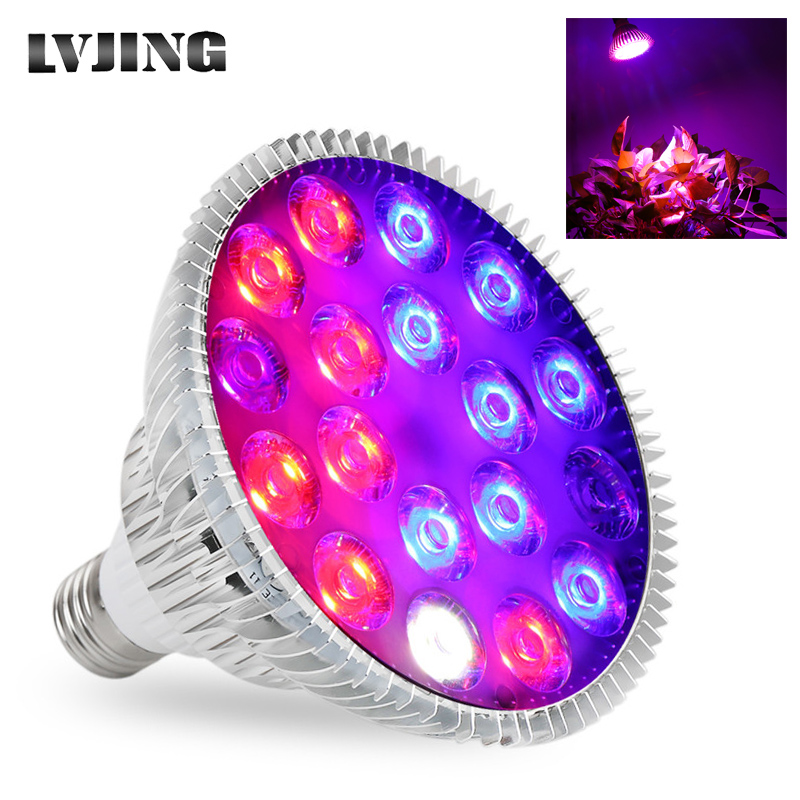 LVJING LED Grow Light E27 Full Spectrum 54W Led Bulb Plant Lamp Red Blue UV IR White For Grow Tent Box Greenhouse Grow Lighting