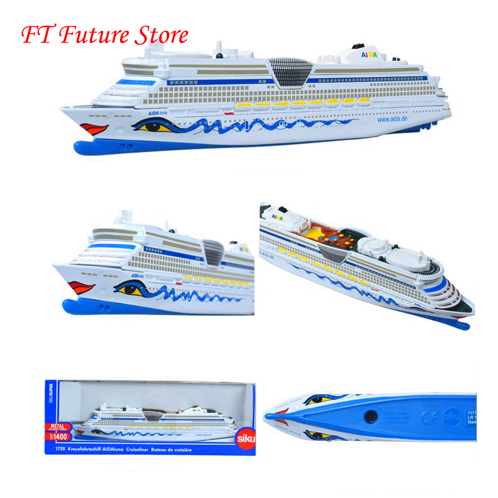 1/1400  Siku Aida Cruise Ship Alloy Metal Cruiseliner Miniature Replica Civilian/transport  Model For Children Kids Boat Gifts