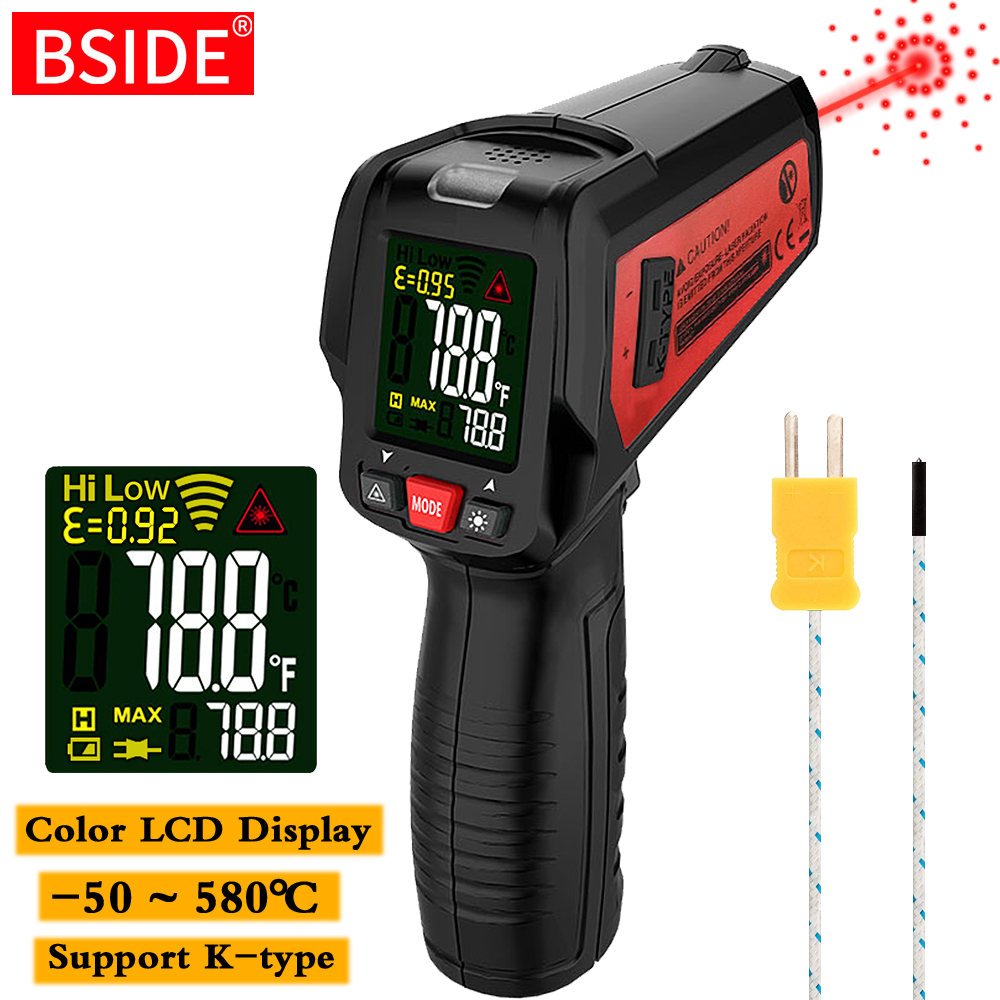New Infrared Thermometer BSIDE BTM11 Non-Contact IR Digital Pyrometer Temperature Meter Gun Point -50~580 Degree + Alarm + Color