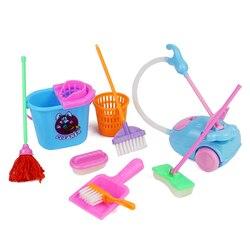 Аксессуары для мини-кукол, 9 шт./компл., бытовые чистящие инструменты для кукол, аксессуары для кукол, высококачественный кукольный домик, Де...