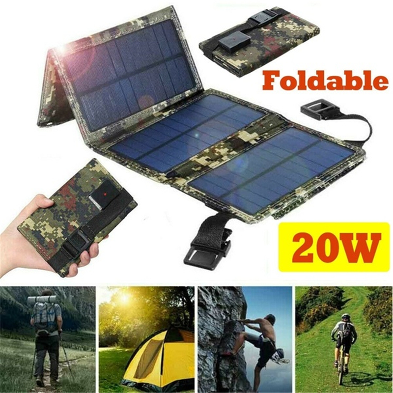 20w painel solar kit dobravel usb carregador de bateria portatil ao ar livre a prova dwaterproof