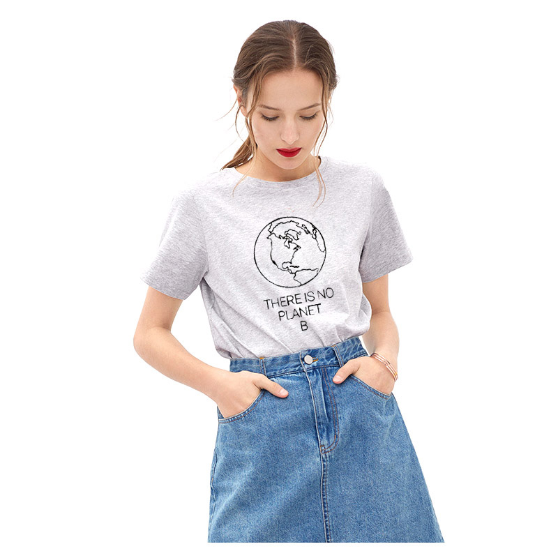 Women Tee Shirt Earth Day Slogan <font><b>There</b></font> <font><b>Is</b></font> <font><b>No</b></font> <font><b>Planet</b></font> <font><b>B</b></font> Funny <font><b>Tshirt</b></font> Summer Femme Environmental Saying Top Tee Good Quality Unisex image
