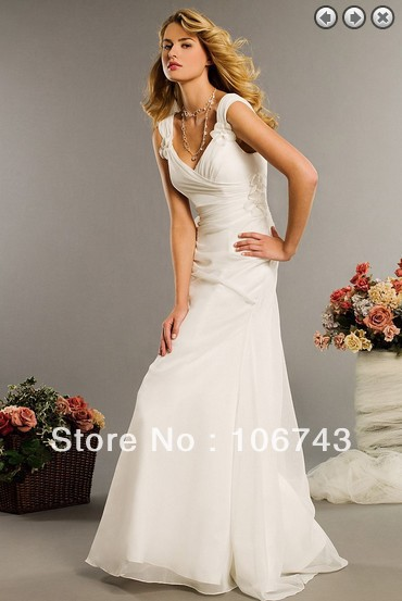 Free Shipping Maxi Dresses 2016 Chiffon Bridal Gown Maid Of Honor Dress Vestidos Formales White Long Dress Bridesmaid Dresses