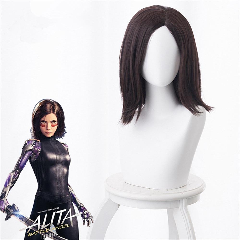 Filme alita batalha anjo perucas de cabelo para mulheres menina alita cabelo sintético peruca curta + livre peruca boné