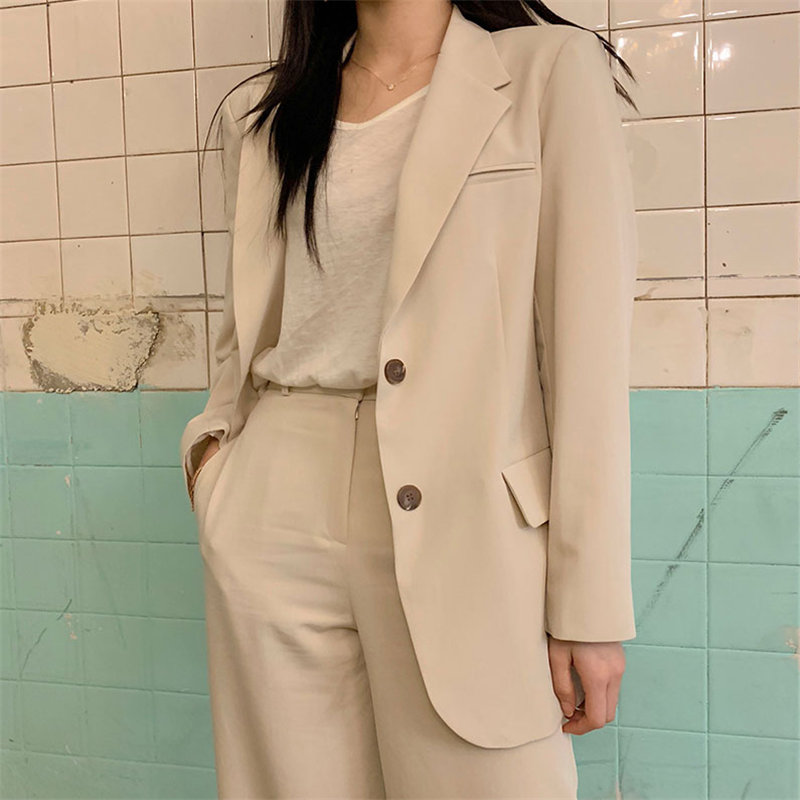 HziriP Office Ladies Elegant Ventilation Single Breasted High Street Loose Coat Feminine All Match Slender Women Blazer