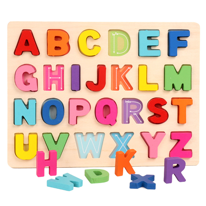 Educational Toy Alphabets Digital Jigsaw Puzzle Early Learning Wooden Toys Colorful Letters Board Toys For Kids