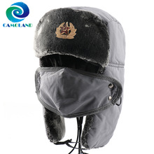 CAMOLAND Winter Super Thermal Faux Fur Bomber Hats Women Men Soviet Army Military Badge Snow Cap Russia Ushanka Earflap Face Hat