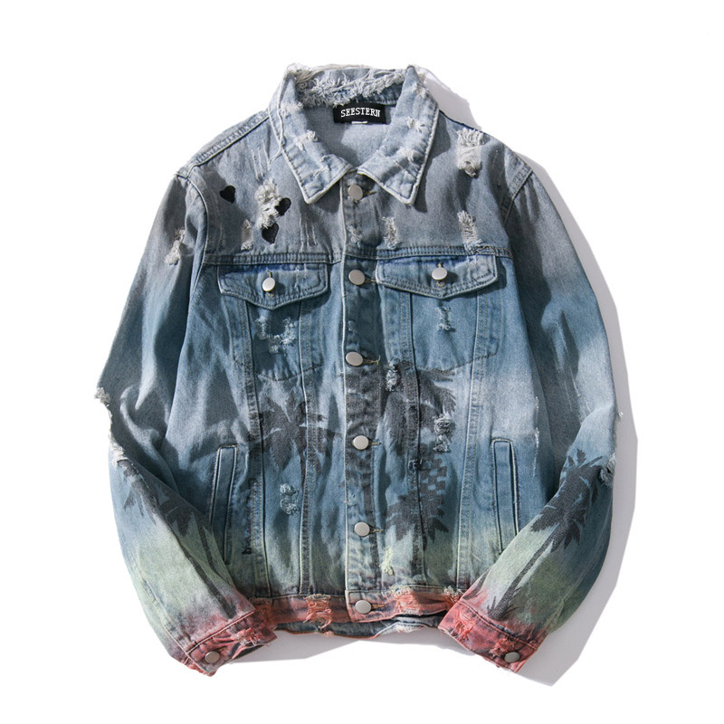 Seestern Men's Jacket Clothing Coat Outerwear Vintage Denim Brand-New Hip-Hop Hole Print