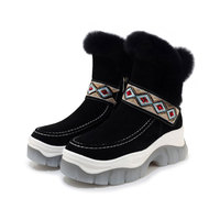 Women's Genuine Leather Embroidery National Style Platform Ankle Boots Warm Fur Angola Snow Boot Fashion Sneakers jelly Footwear