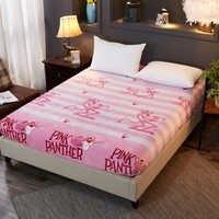 Tela de franela cálida suave de la pantera rosada de la sábana de la cama elástica de terciopelo de cristal de la cubierta del colchón de La Reina Doble