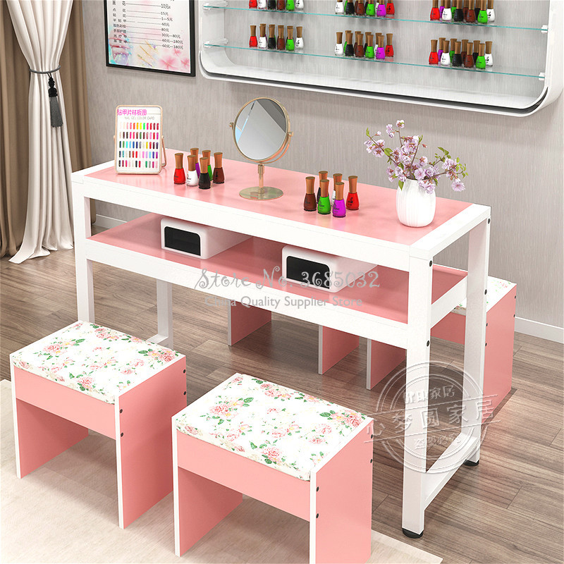 1pc Nordic Simple Nail Tables & Stool Durable Single Manicure Desk And Chair Particle Board Salon Furniture 1.0m Width